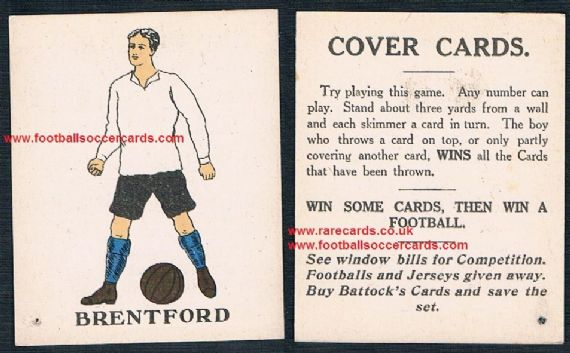 1923 Battocks Brentford HEAVY LETTERING -Cover Cards- type back x.rare redemption card